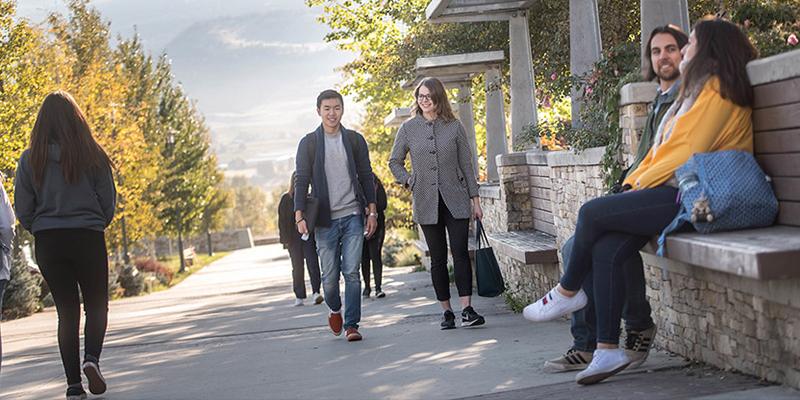 Undergraduate Students walking through the UBCO campus